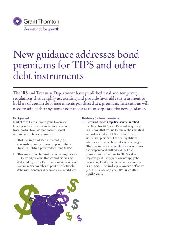 New guidance addresses bond premiums for tips and other debt instruments