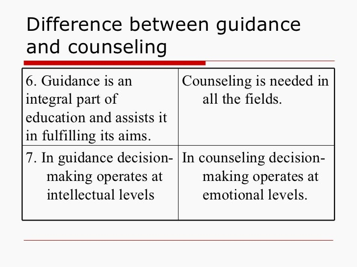 guidence and couselling Counseling counseling is the branch of psychology dealing with the research work to provide the supervision, training and direction counseling encompasses upon many other fields of psychology and is much extensive.