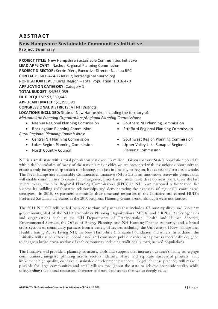 ABSTRACTNew Hampshire Sustainable Communities InitiativeProject SummaryPROJECT TITLE: New Hampshire Sustainable Communitie...
