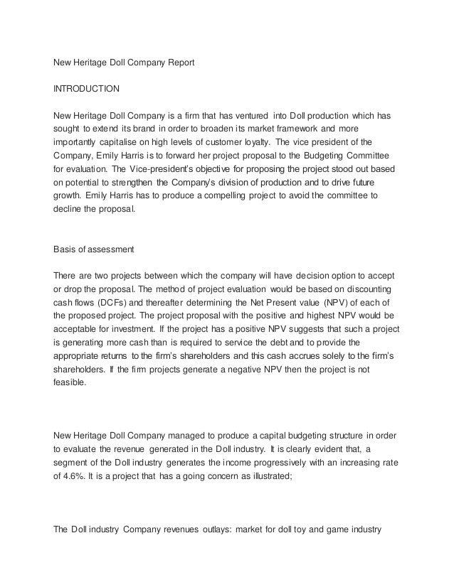 new heritage doll company executive summary