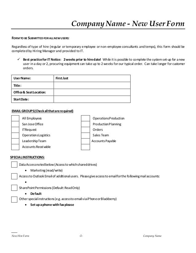 New hire it request form for Equipment hire form template