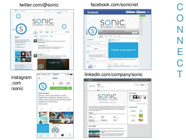 C O N N E C T twitter.com/@sonic instagram .com /sonic facebook.com/sonicnet linkedin.com/company/sonic