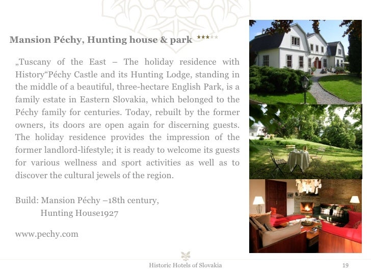 """Mansion Péchy, Hunting house & park    """" Tuscany of the East – The holiday residence with History""""Péchy Castle and its..."""