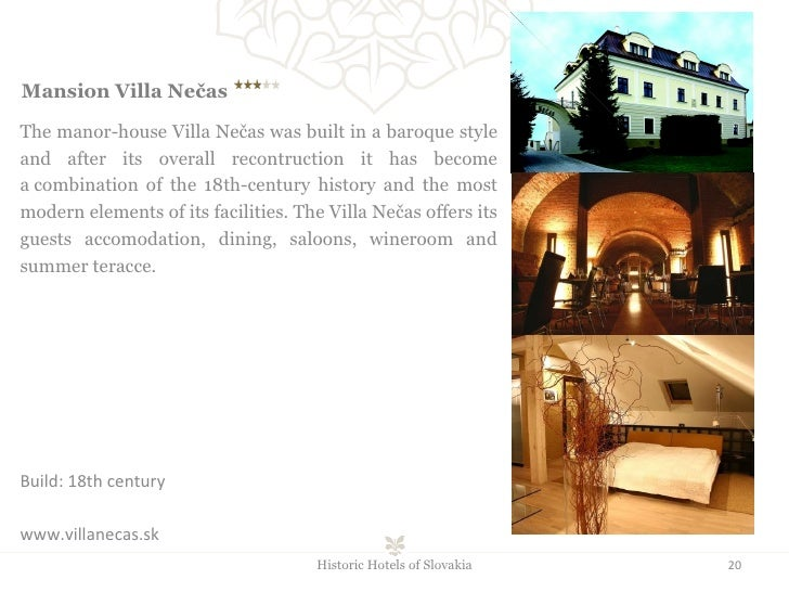 Mansion Villa Nečas  The manor-house Villa Nečas was built in a baroque style and after its overall recontruction it has...