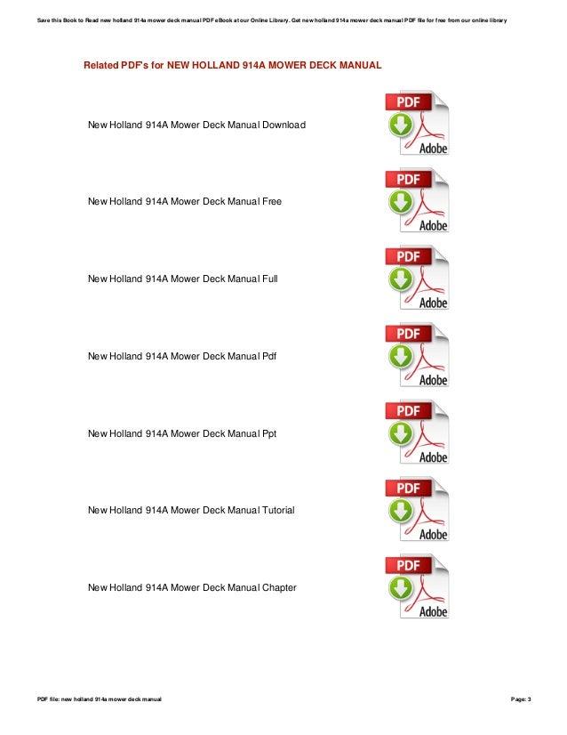 New holland 914a mower deck manual