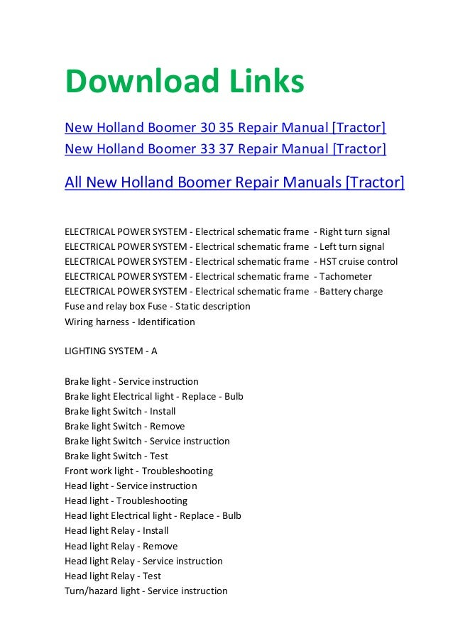 new holland boomer 20 25 30 35 repair manualelectrical schematic frame road lights; 4 download links new holland