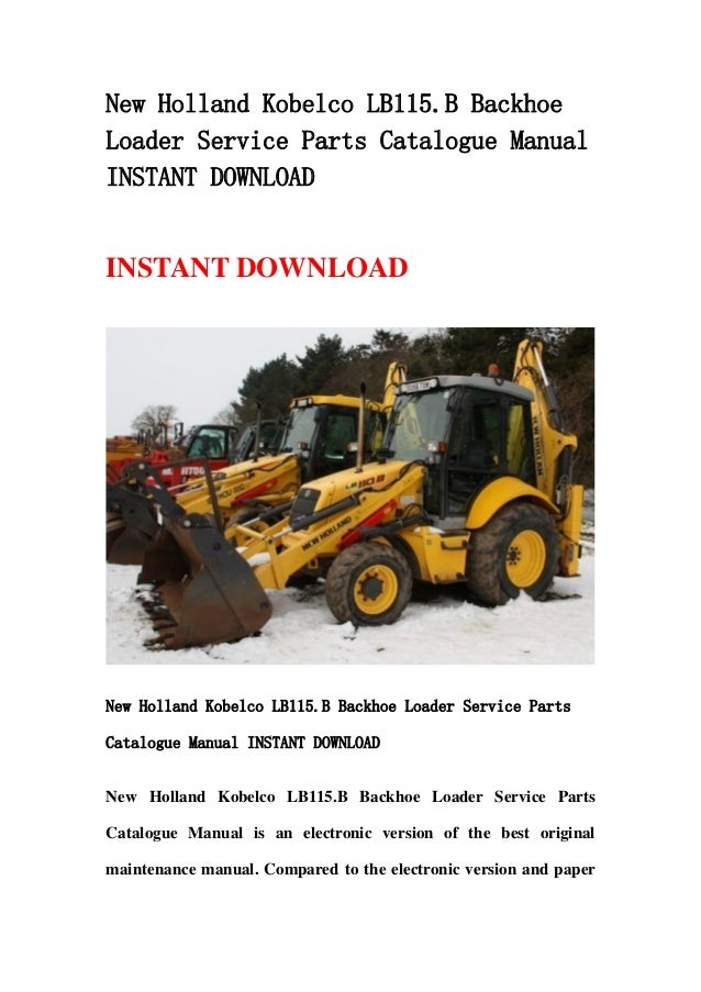 New Holland Bl 115 Service Manual