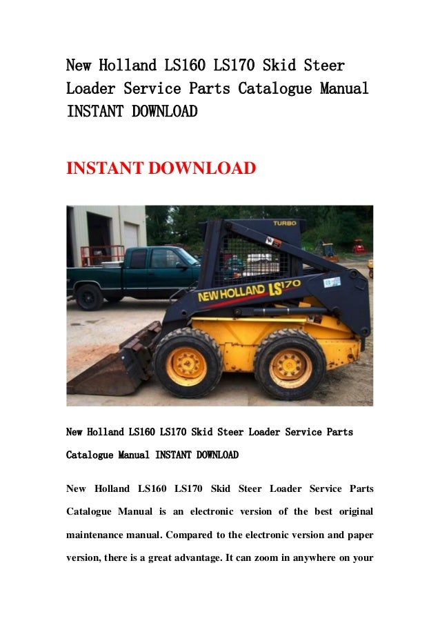 New Holland Ls160 Ls170 Skid Steer Loader Service Parts