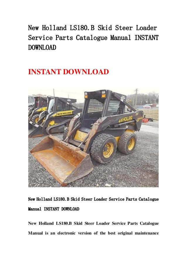 New holland ls180.b skid steer loader service parts catalogue manual on