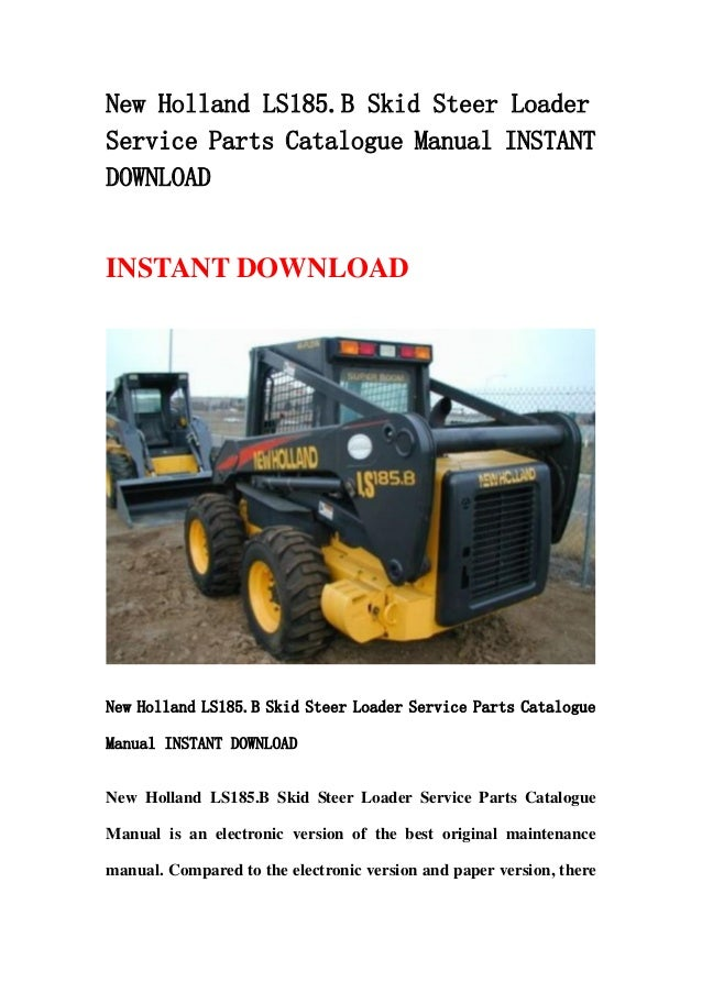 New holland ls185.b skid steer loader service parts catalogue manual on