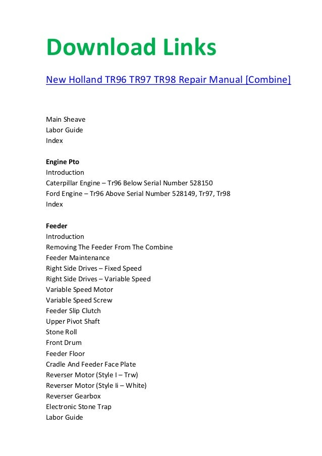 new holland tr96 tr97 tr98 manual rh slideshare net New Holland Boomer 35 Tractor L185 New Holland Service Manual