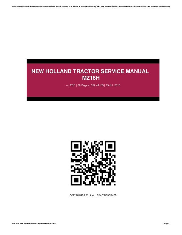 new holland tractor service manual mz16h rh slideshare net