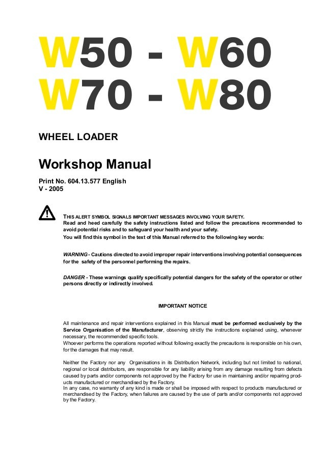 New holland w60 wheel excavator service repair manual