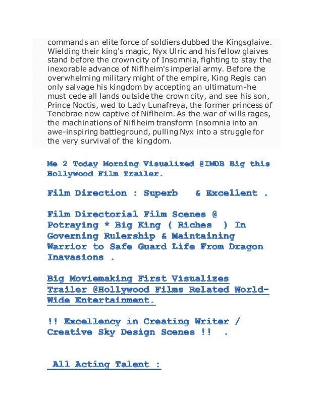 New Hollywood Film Trailer Imdb Site Kingsglaive Final Fan