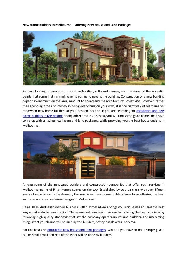 New Home Builders In Melbourne U2013 Offering New House And Land Packages  Proper Planning, Approval