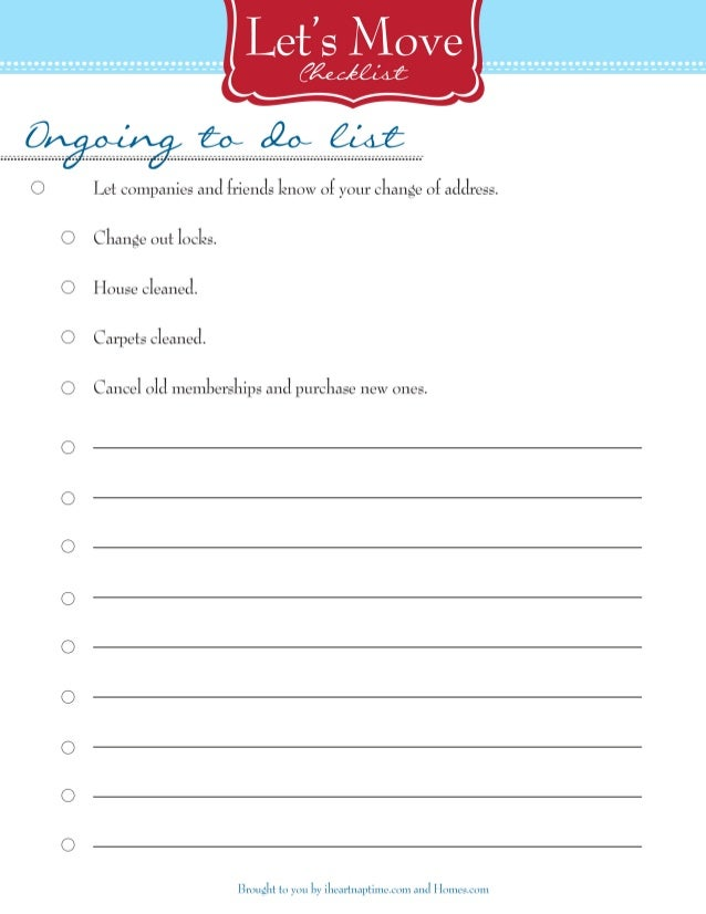 New home unpacking checklist free printable for New home to do list