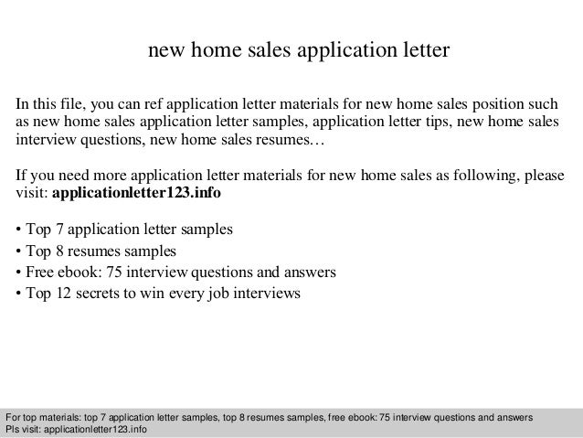 New Home Sales Cover Letter