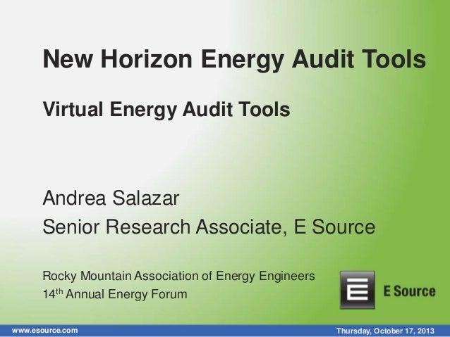 New Horizon Energy Audit Tools Virtual Energy Audit Tools  Andrea Salazar Senior Research Associate, E Source Rocky Mounta...