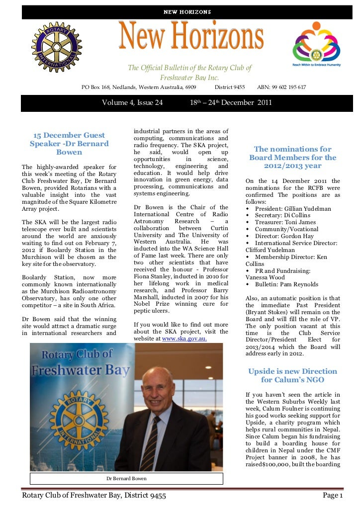 The Official Bulletin of the Rotary Club of                                                   Freshwater Bay Inc.         ...