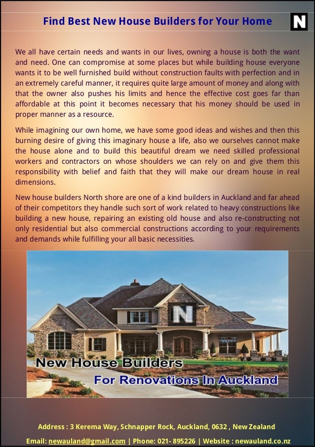 Find Best New House Builders for Your Home We all have certain needs and wants in our lives, owning a house is both the wa...