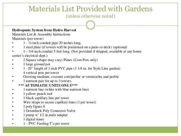 Good Materials List ...