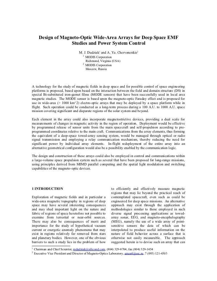 Design of Magneto-Optic Wide-Area Arrays for Deep Space EMF                     Studies and Power System Control          ...