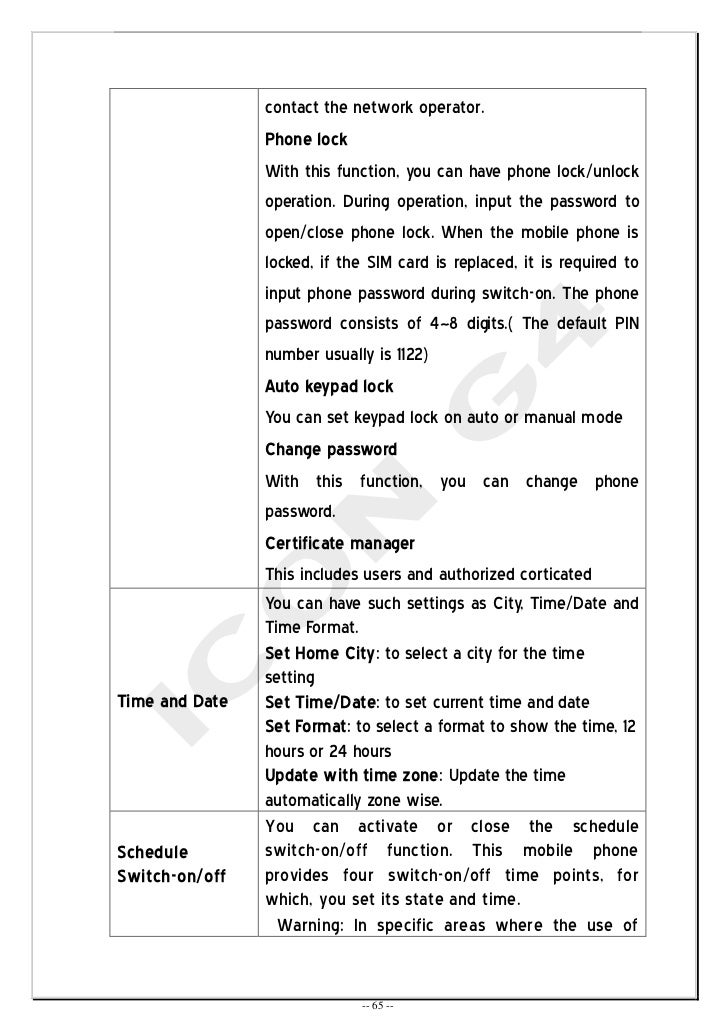 User Manual for ICON G4 – User Manual Format