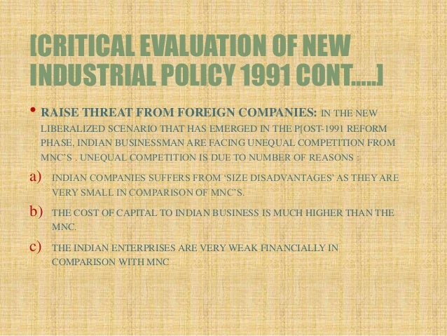 industrial policy of india critical Monitoring and evaluation of industrial financing trade policy with a particular focus on fast-tracking critical policy and implement industrial policy.