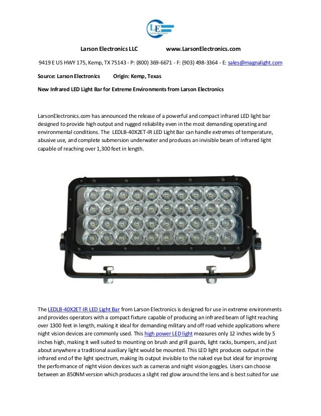 New infrared led light bar for extreme environments from larson elect new infrared led light bar for extreme environments from larson electronics larson electronics llc larsonelectronics 9419 e us hwy 175 kemp aloadofball Image collections