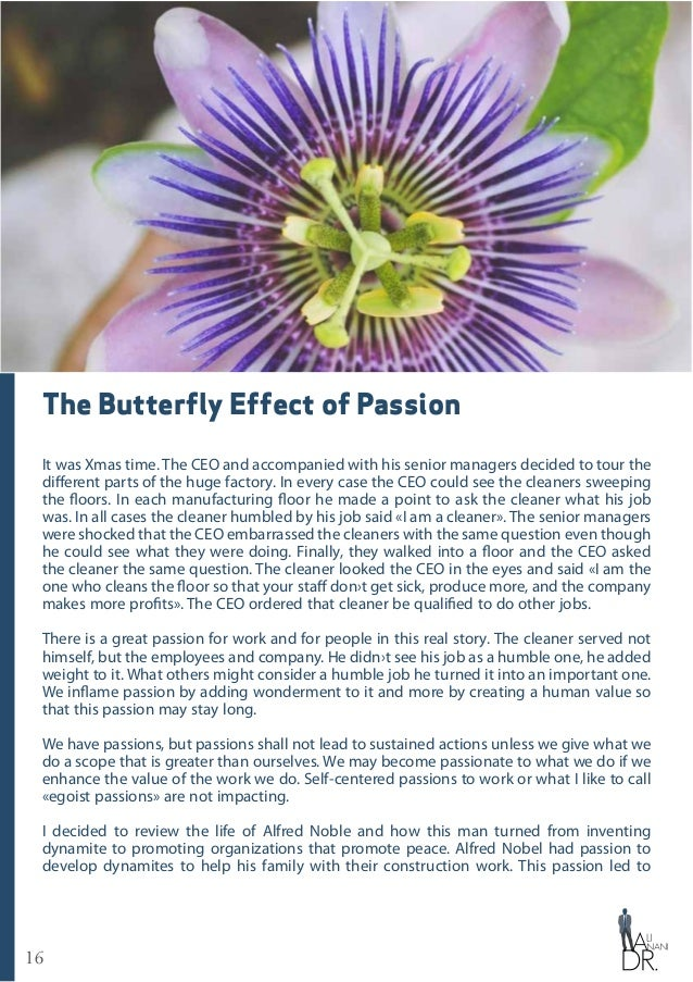 16 The Butterfly Effect of Passion It was Xmas time. The CEO and accompanied with his senior managers decided to tour the ...