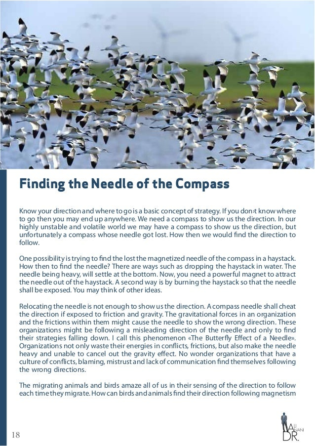 18 Finding the Needle of the Compass Know your direction and where to go is a basic concept of strategy. If you don›t know...
