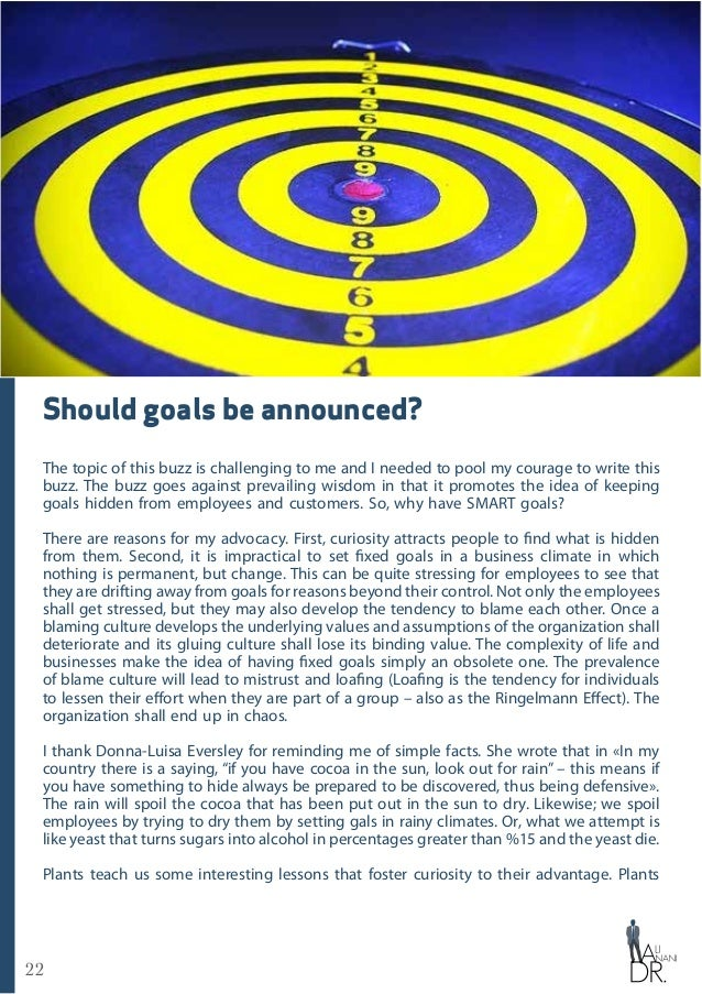 22 Should goals be announced? The topic of this buzz is challenging to me and I needed to pool my courage to write this bu...