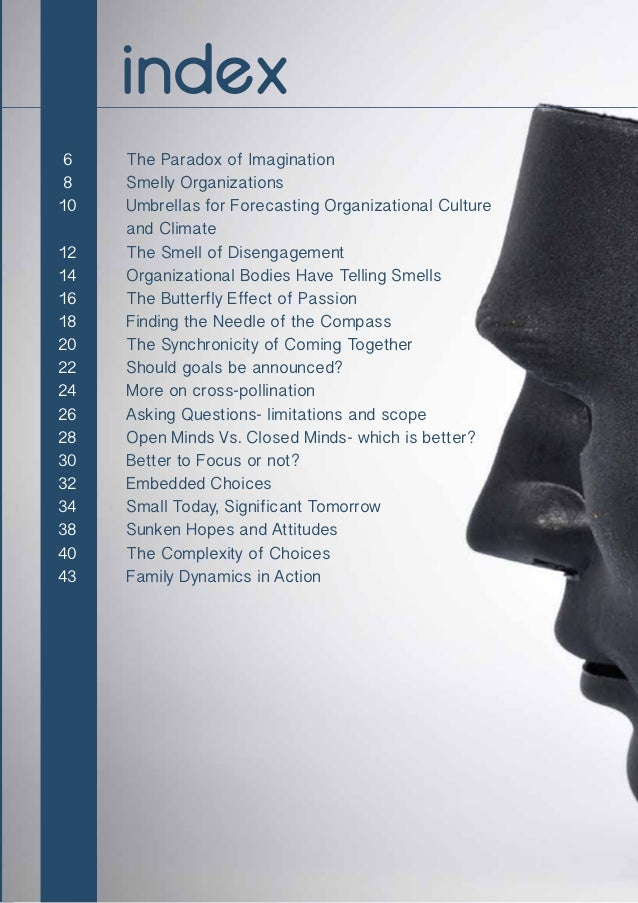 4 The Paradox of Imagination Smelly Organizations Umbrellas for Forecasting Organizational Culture and Climate The Smell o...