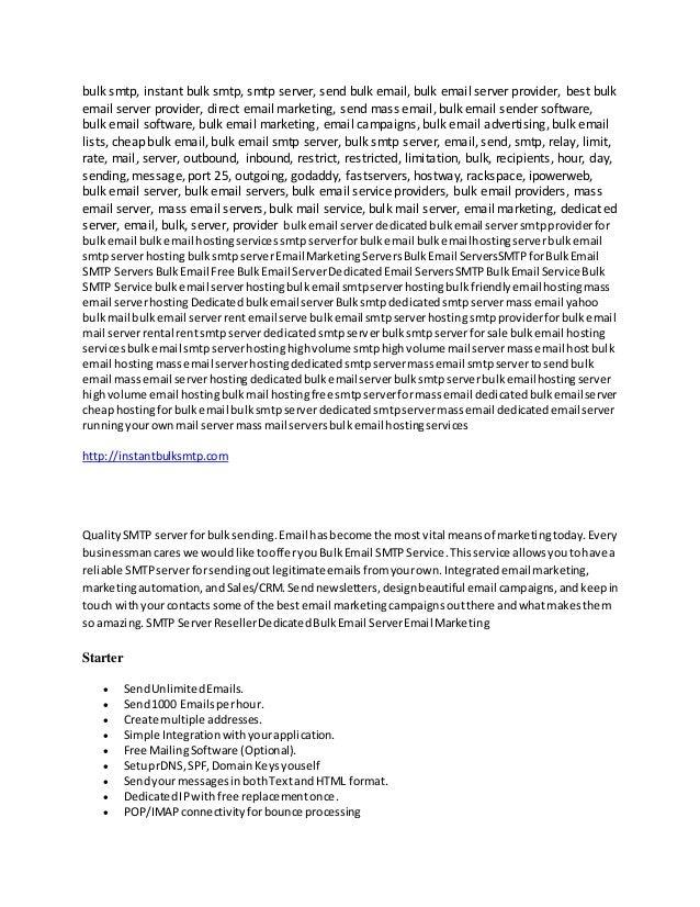 SMTP Server | The best free SMTP Service | Smtp     - Instant Bulk SM…