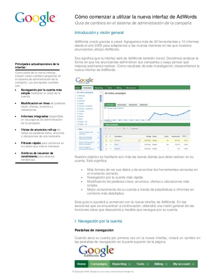 Cómo comenzar a utilizar la nueva interfaz de AdWords                                           Guía de cambios en el sist...