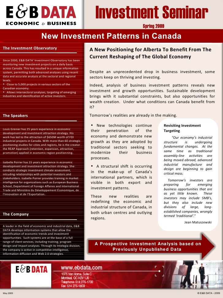 New  Investment  Patterns  in Canada <ul><li>New technologies continue their penetration of the economy and demonstrate ne...