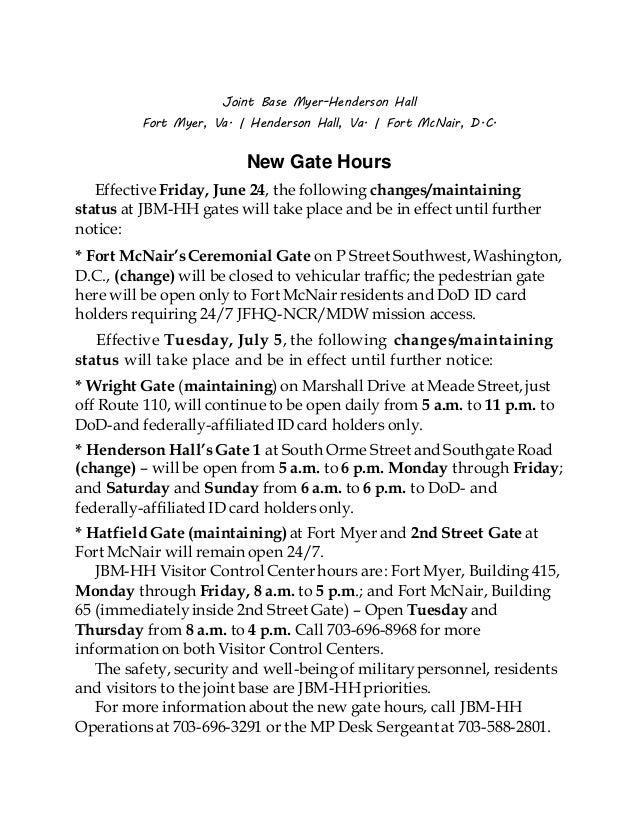 Joint Base Myer-Henderson Hall Fort Myer, Va. | Henderson Hall, Va. | Fort McNair, D.C. New Gate Hours Effective Friday, J...