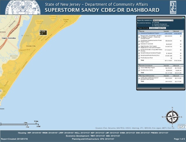 New Jersey Department of Community Affairs Superstorm Sandy CDBG dashboard as of Jan. 16, 2014 for Ocean City, NJ
