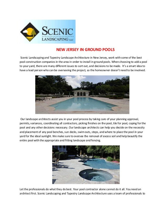 NEW JERSEY IN GROUND POOLS Scenic Landscaping and Tapestry Landscape Architecture in New Jersey, work with some of the bes...