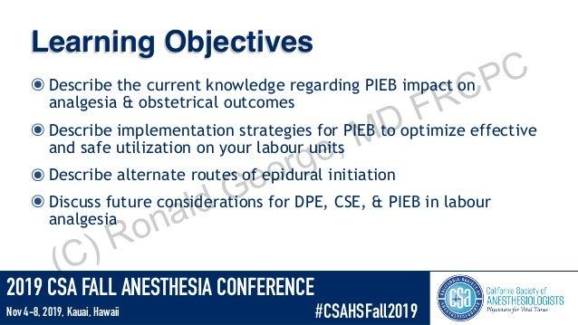 Update labor analgesia - PIEB, CSE, DPE Slide 2