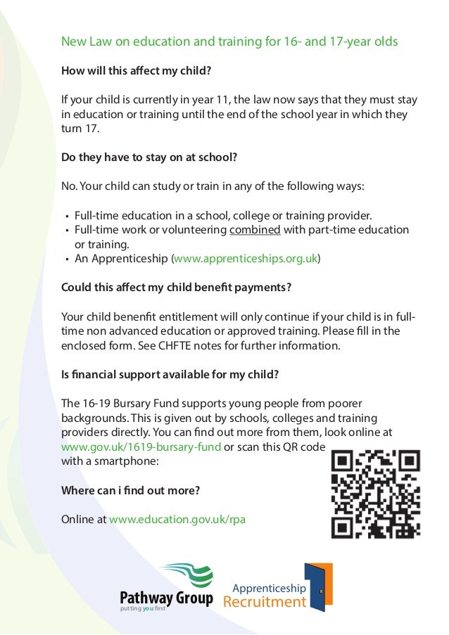 New Law on education and training for 16- and 17-year olds How will this affect my child? If your child is currently in ye...