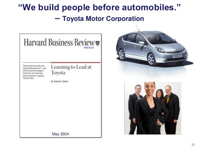 """""""We build people before automobiles."""" – Toyota Motor Corporation  May 2004 11"""