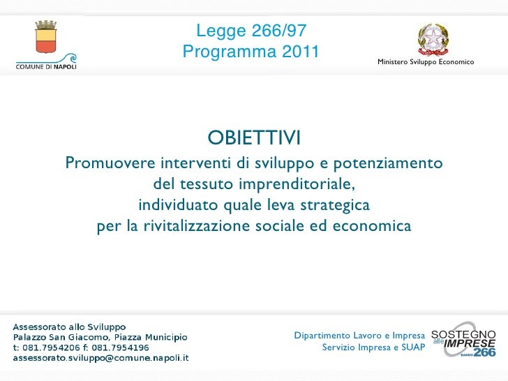 Nuova Legge 266 Programma 2011 Slide 2