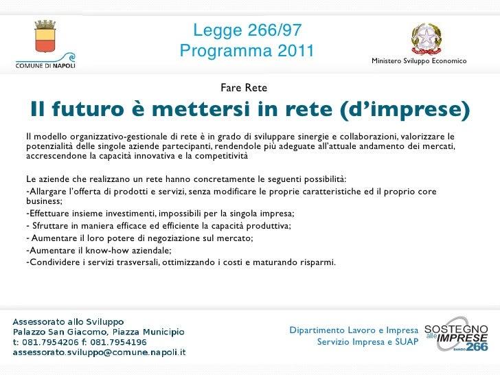 Nuova Legge 266 Programma 2011 Slide 3