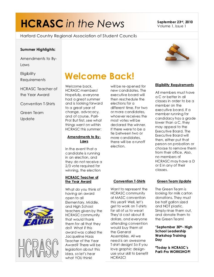 HCRASC in the NewsSeptember 23rd, 2010Volume 1, Issue 1Harford Country Regional Association of Student Councils23177558724...