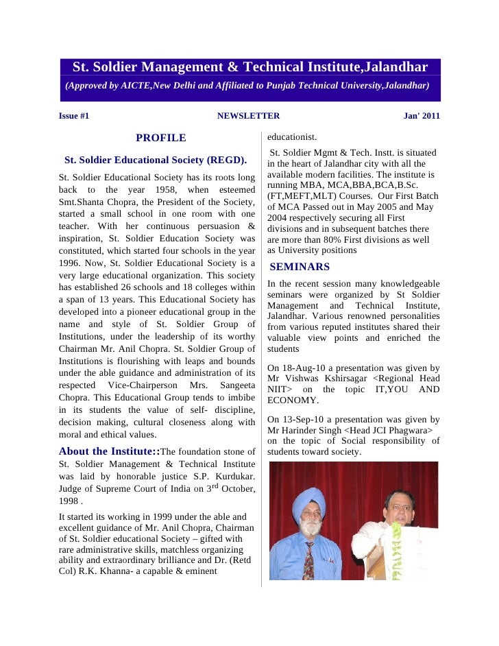 St. Soldier Management & Technical Institute,Jalandhar (Approved by AICTE,New Delhi and Affiliated to Punjab Technical Uni...