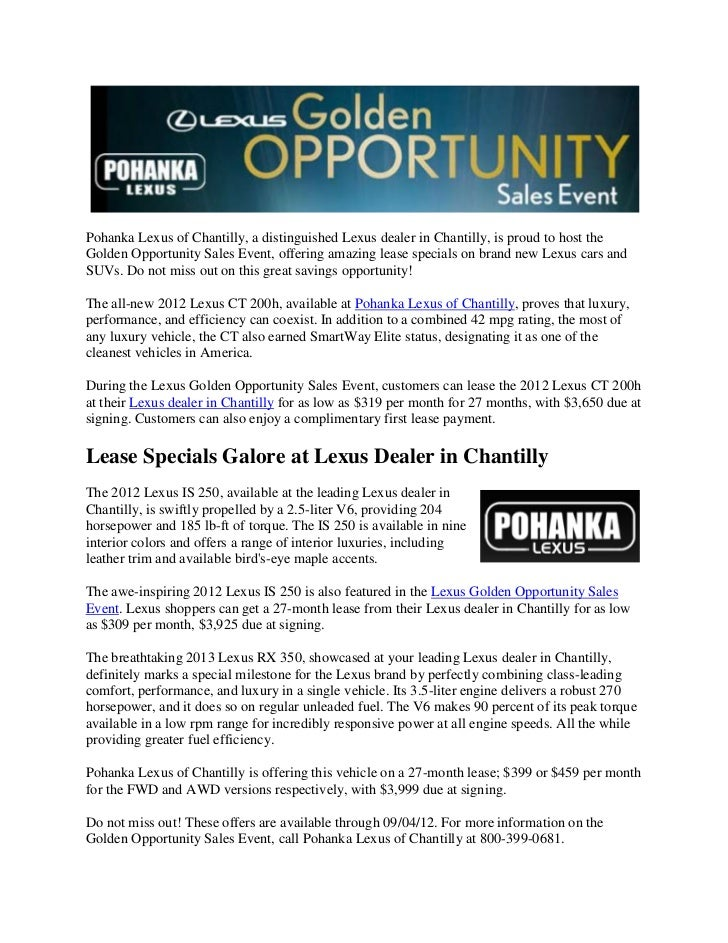Pohanka Lexus Of Chantilly, A Distinguished Lexus Dealer In Chantilly, Is  Proud To Host ...