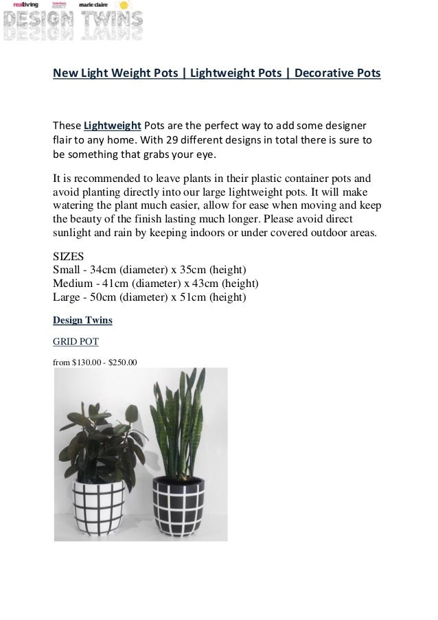New Light Weight Pots | Lightweight Pots | Decorative Pots These Lightweight Pots are the perfect way to add some designer...