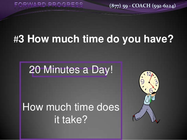 (877) 59 - COACH (592-6224)#3 How much time do you have?  20 Minutes a Day! How much time does      it take?