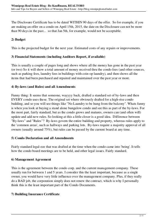 new list of condo documents for winnipeg condos 2015